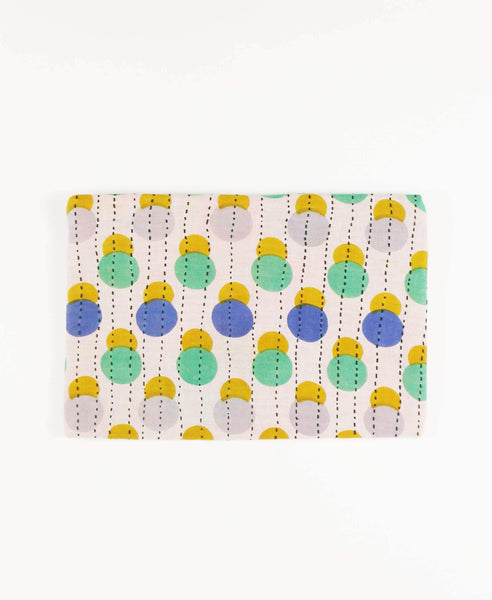 ethically made fair trade pouch clutch made from polka dot patterned vintage saris