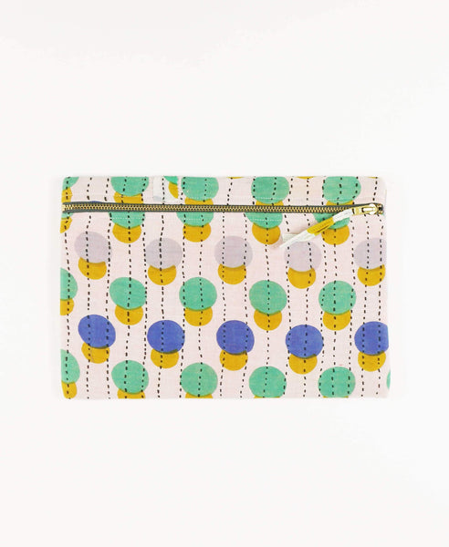 Anchal vintage kantha yellow and green polka dots zipper pouch