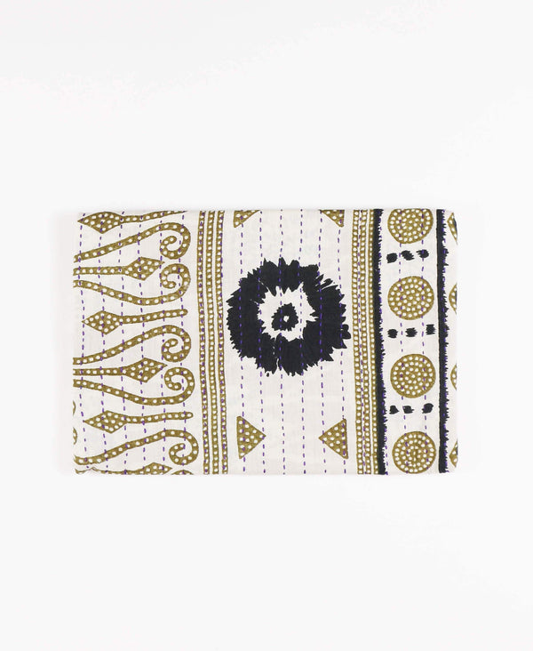 Fair Trade and sustainably made pouch clutch using upcycled gold and black vintage saris