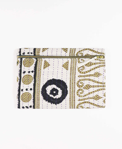 Anchal Project vintage kantha gold and black zipper pouch