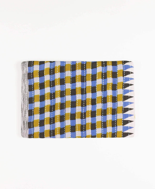 Anchal repurposed sari fabric yellow and blue pouch clutch