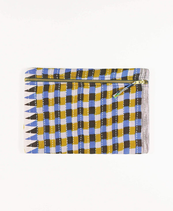 Anchal Project vintage kantha yellow and blue checkered zipper pouch