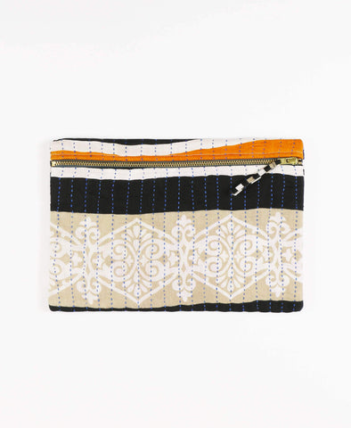 Anchal Project vintage kantha navy and orange striped canvas zipper pouch