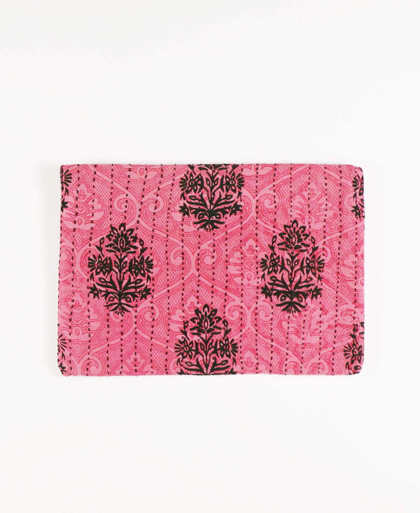 Anchal upcycled sari fabric bubblegum pink pouch clutch