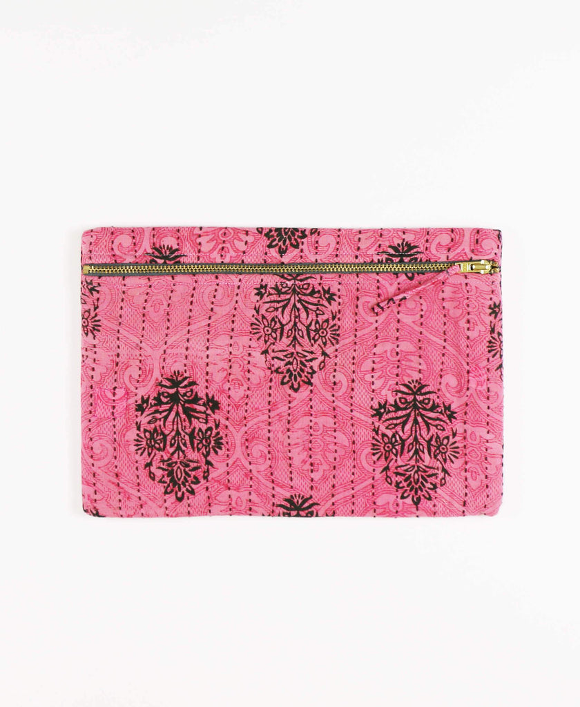 Anchal Project vintage kantha hot pink zipper pouch