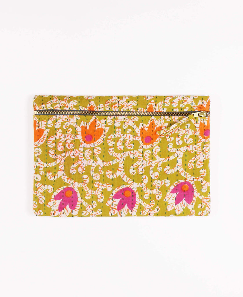 Anchal Project vintage kantha olive green floral zipper pouch