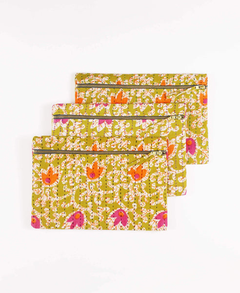 Ethically made fair trade clutch made from upcycled vintage cotton saris