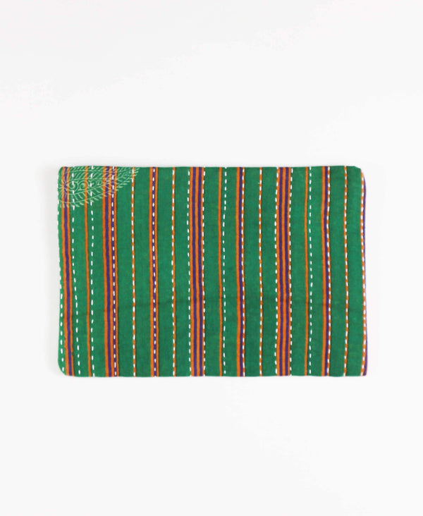 Anchal recycled sari fabric green striped canvas pouch clutch