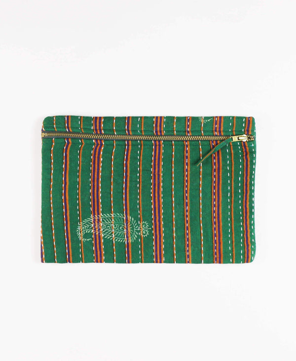 Anchal Project vintage kantha green striped zipper pouch