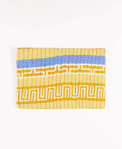 Anchal repurposed sari fabric golden yellow striped canvas pouch clutch
