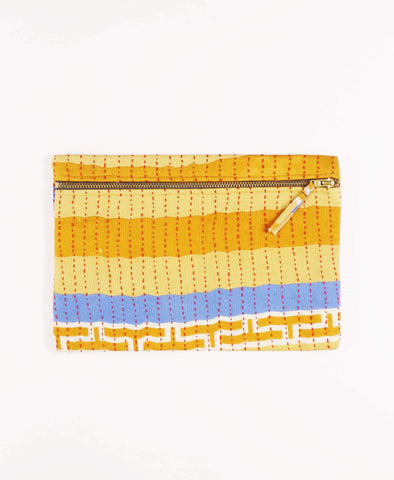 Anchal Project vintage kantha mustard yellow striped zipper pouch