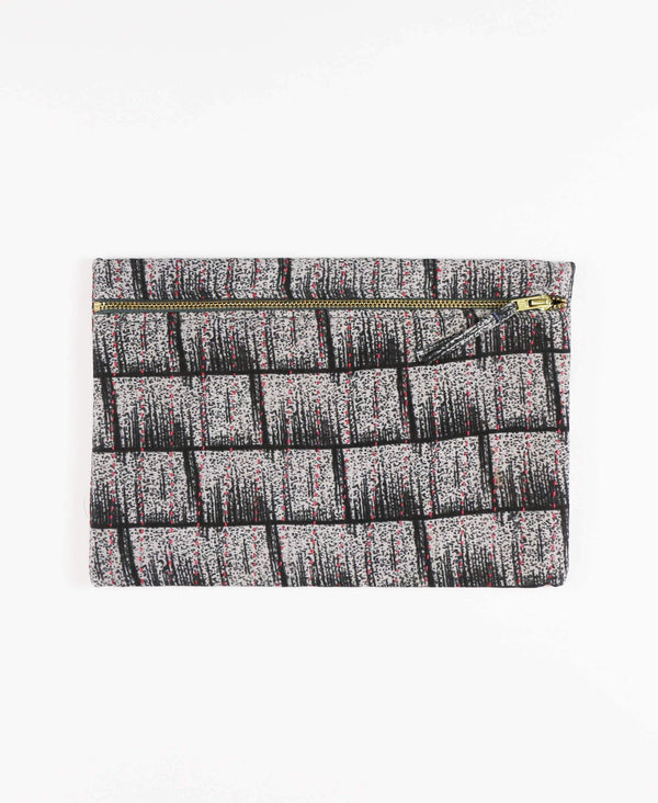 Anchal Project vintage kantha black geometric zipper pouch