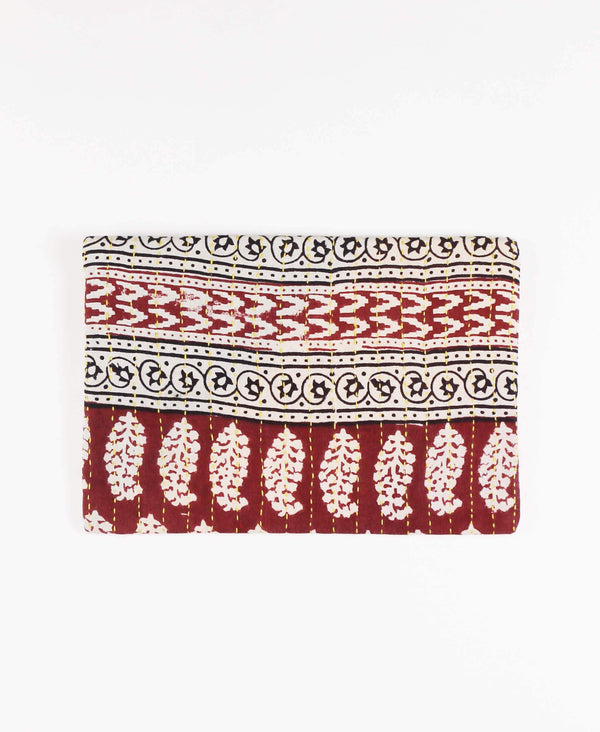 Anchal repurposed sari fabric brick red pouch clutch