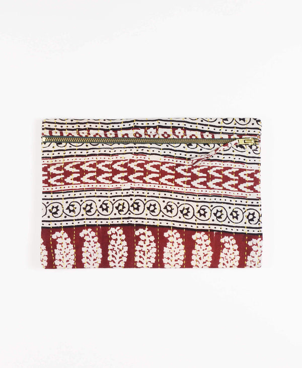 Anchal Project vintage kantha brick red zipper pouch
