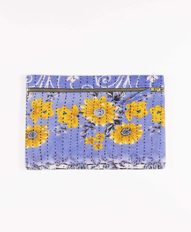 Anchal Project vintage kantha light blue zipper pouch