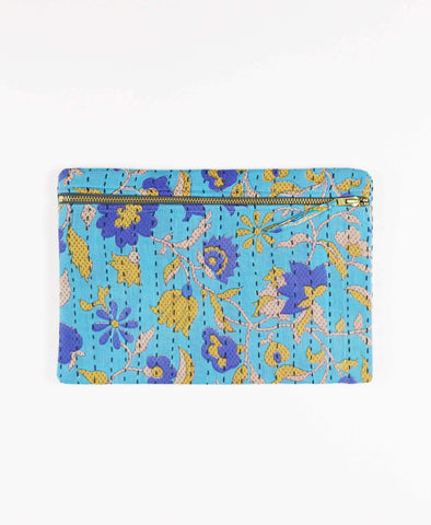 Anchal Project vintage kantha sky blue zipper pouch