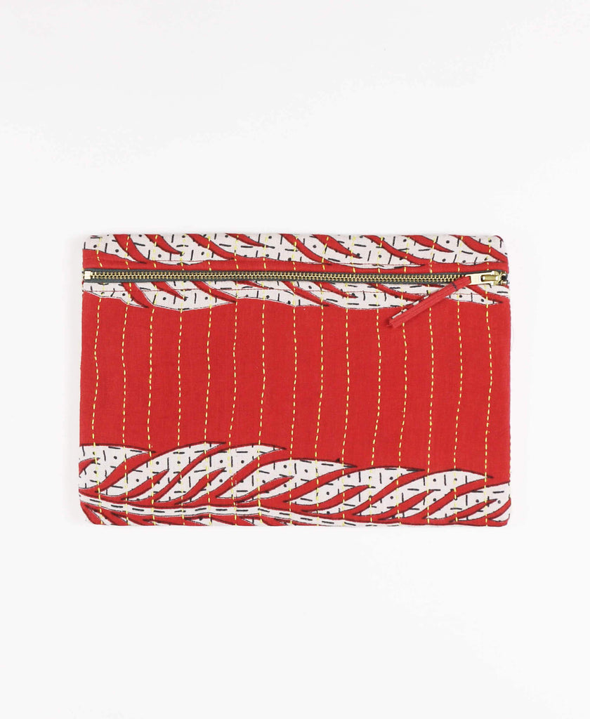 Anchal Project vintage kantha cherry red canvas zipper pouch