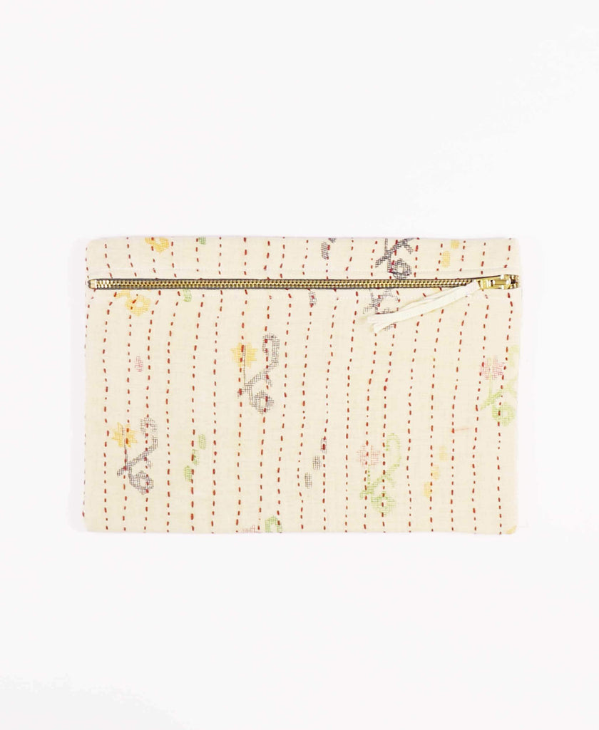 small vintage fabric zippered clutch
