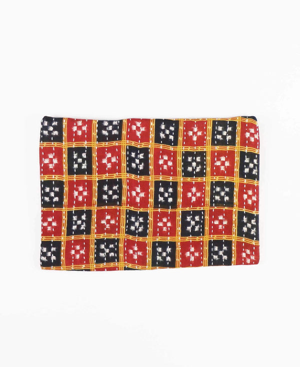 zippered pouch clutch with checkered pattern
