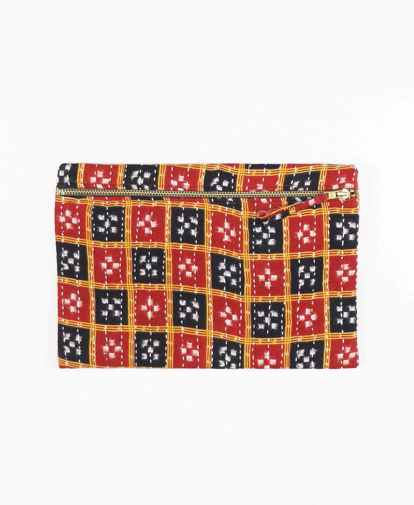 navy and red patterned cotton zippered pouch clutch