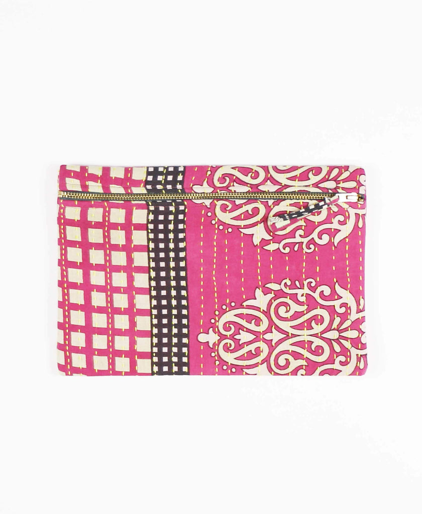 pink and gray zippered pouch clutch
