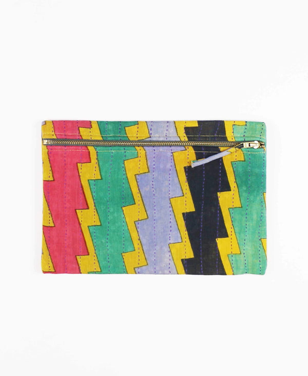 graphic fabric pouch clutch made from vintage cotton saris