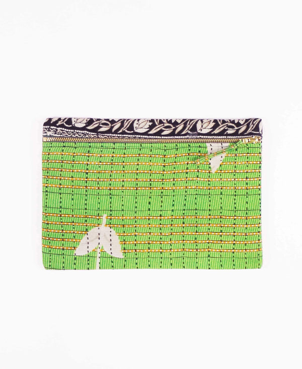lime green cotton zippered pouch clutch made from vintage cotton saris