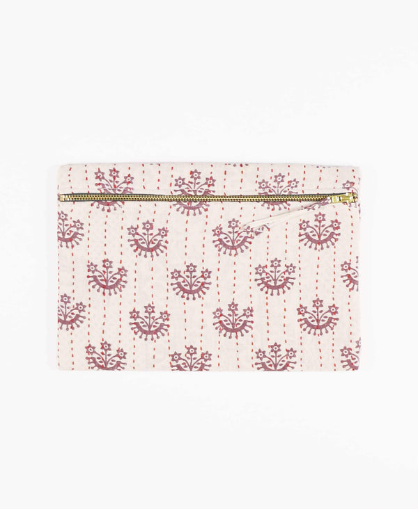 ivory pouch clutch with mauve flowers made from vintage cotton fabrics