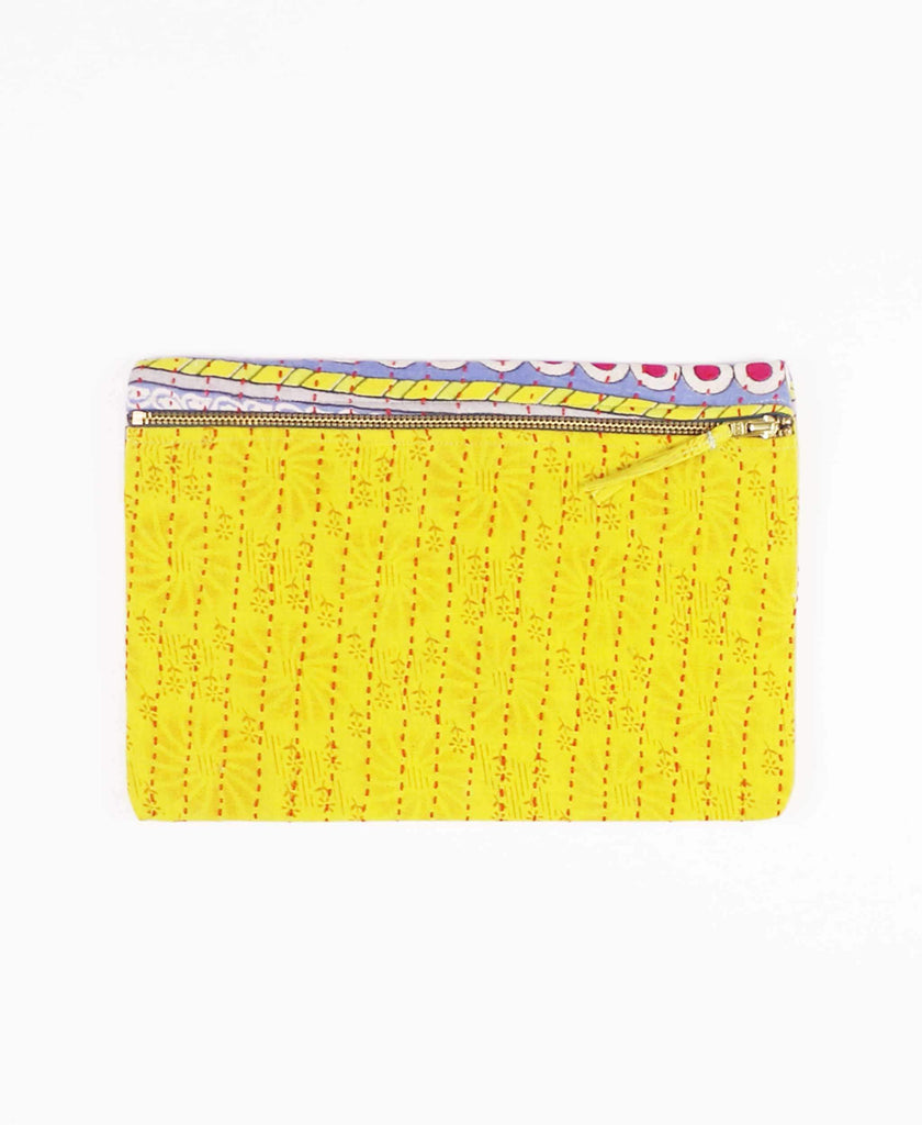 yellow cotton pouch clutch with zipper closure