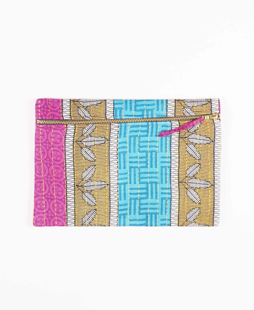 teal and mauve striped pouch made from vintage cotton fabric