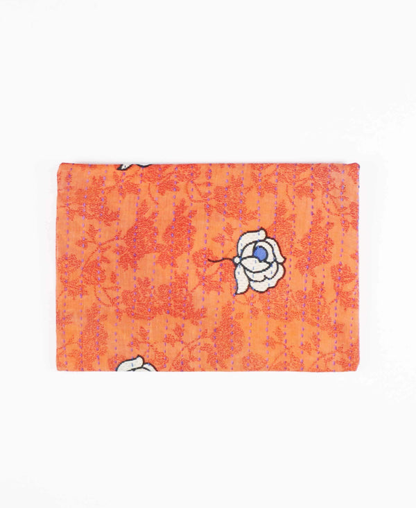 salmon cotton zipper pouch with floral pattern