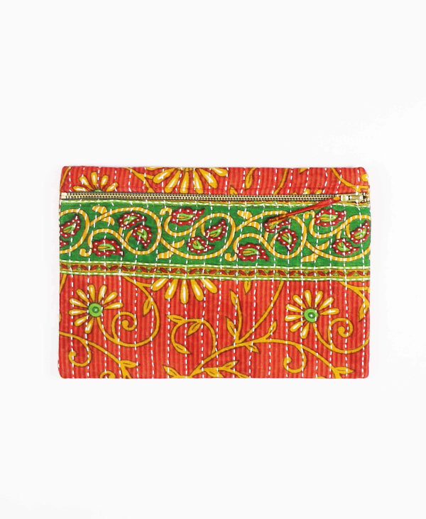 red and green floral cotton clutch with zipper pull
