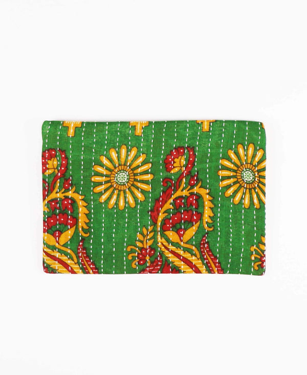 artisan made cotton pouch clutch in green geometric