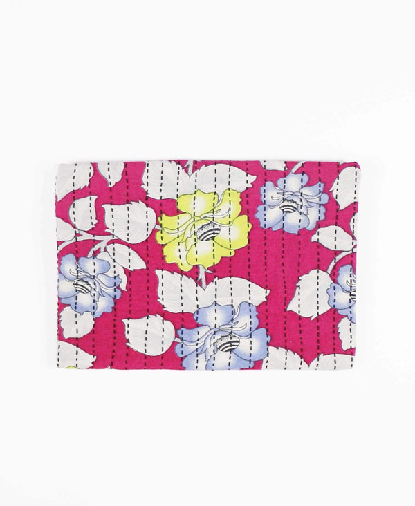 bold pink floral cotton pouch clutch by Anchal Project