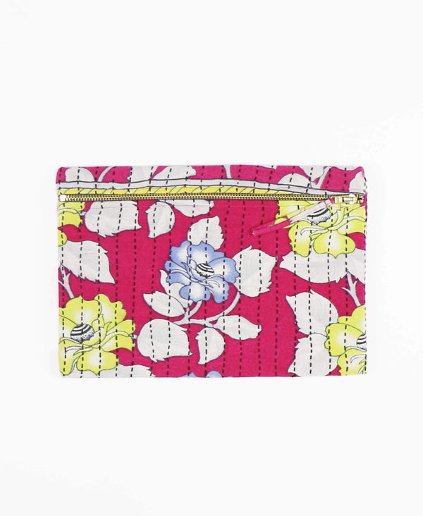magenta floral pouch clutch made from vintage cotton fabric