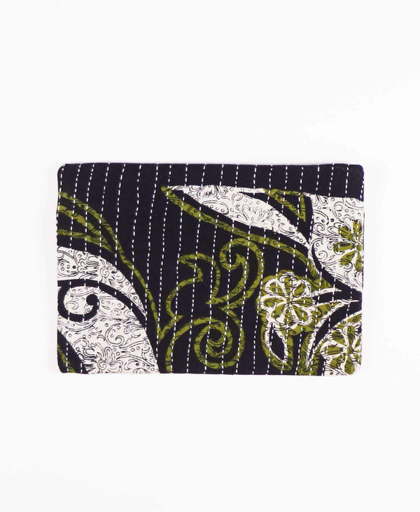 zippered pouch perfect for everyday use in olive green paisley pattern