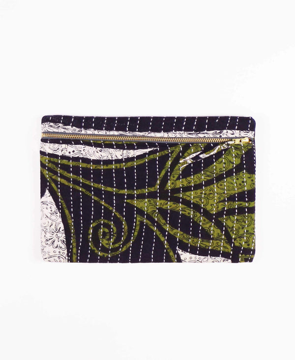 navy and olive green zippered clutch made from vintage cotton