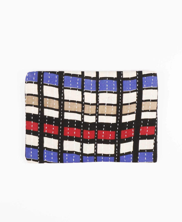 vintage cotton zippered pouch with mod checkered pattern