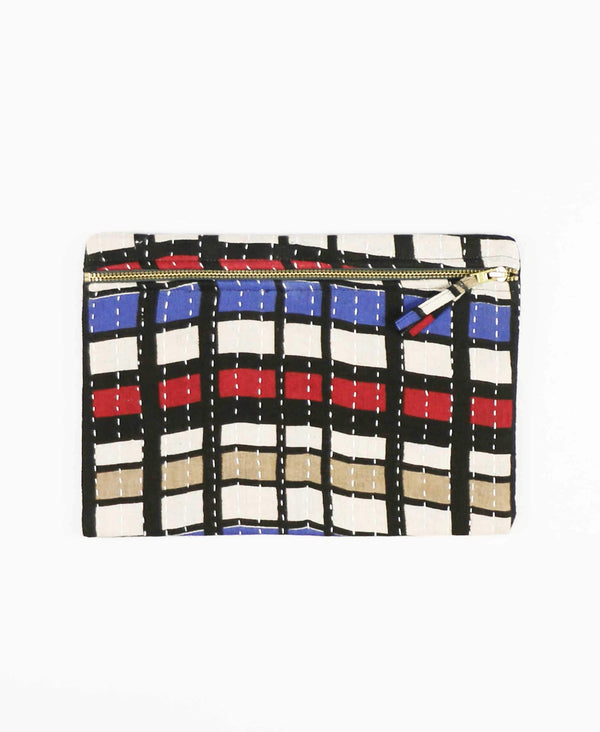 windowpane pattern cotton pouch clutch