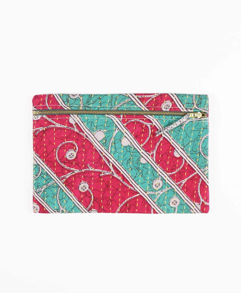 pink and green striped vintage cotton pouch clutch