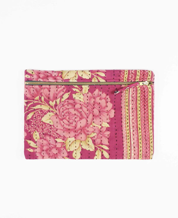 pink floral cotton pouch clutch for casual look