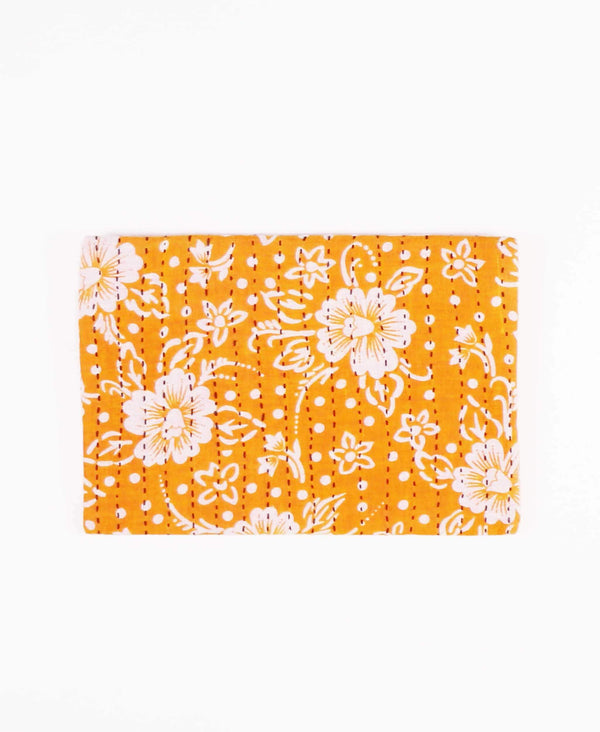 sustainable and ethical cotton pouch clutch in organge floral by Anchal Project