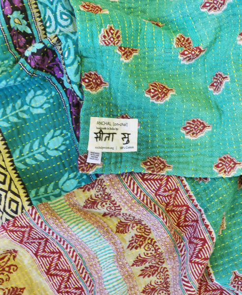 Fair Trade large kantha throw with red and blue floral patterns