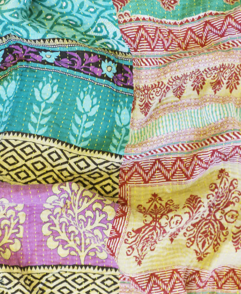 Anchal Project vintage sari quilt with yellow kantha stitching