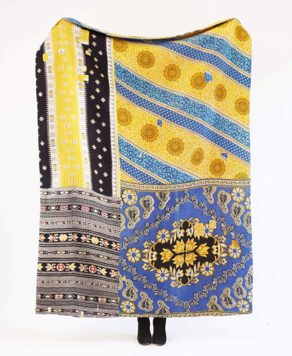 Blue and yellow vintage cotton large throw with stripes and paisley patterning