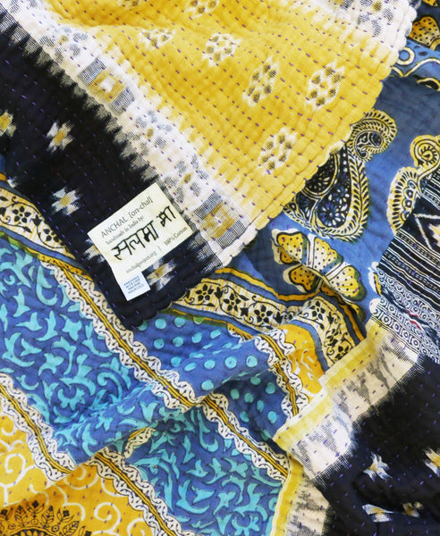 Fair Trade large quilt with blue kantha stitching handmade by Anchal Project artisans