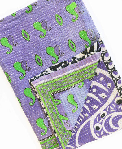 Fair Trade purple recycled sari throw handmade by Anchal Project artisans