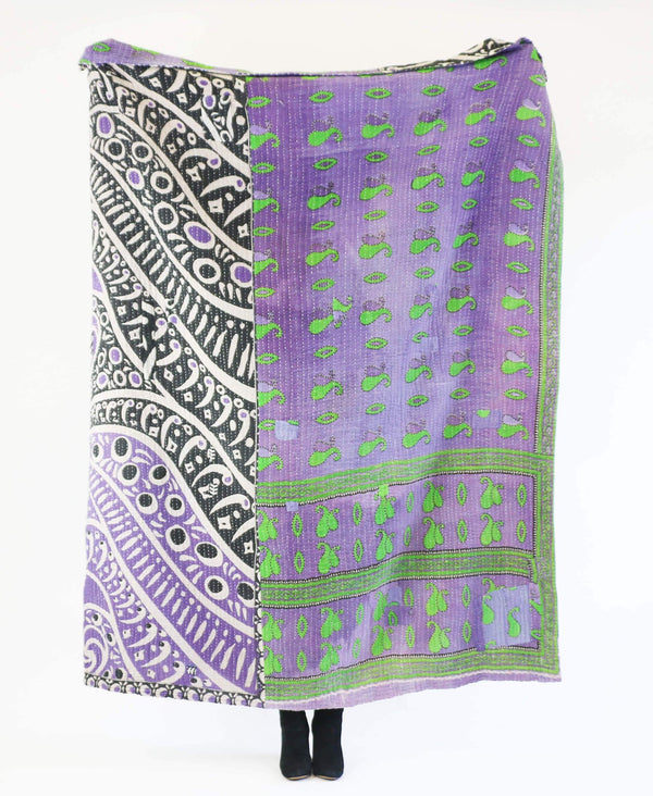 Anchal Project purple kantha quilt with green paisley and black stripe patters