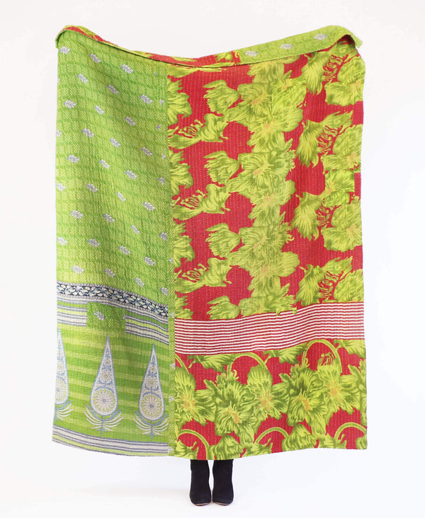 Green and red vintage cotton large throw with floral and stripe patterning