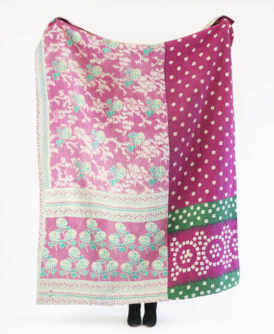 Purple and mint vintage cotton throw with white floral and geometric patterns